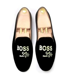 d1b5a72bc62 Hand Crafted Black Velvet Embroidered Boos Shoes Slippers Wedding Loafer  Shoes - Slippers Wedding Slippers