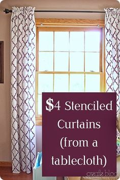 stenciled curtain tablecloths