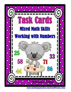 Students will complete the task cards on Mixed Math Skills:  Working With Numbers.  The variety of skills include: showing the number using tally marks, writing 1 more, 2 more, 5 more, or 10 more than a number, making a ten frame, is the number an odd or even number, writing the word form of a number, showing a number drawing the base ten blocks it would represent, writing the expanded form of a number, given three numbers then writing the largest 3 digit or the least 3 digit number, writing…