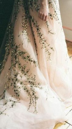 Blush Ball Gown Embroidered with Sparkling Vines