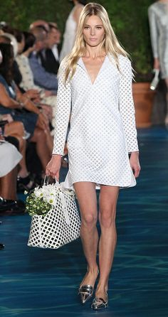Tory Burch Spring 2014   New York Fashion Week   Perforated shift dresses look great in white
