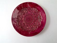 Shabby Rote Mandala, rote Keramik Platte, Wand Kunst Keramik, Wand Keramik Deko, Relief Keramik Teller, Interior Deko Teller by Tanja Shpal von ceralonata auf Etsy