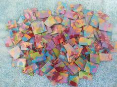 Mosaic Tiles FULL OF COLOR red blue green purple aqua orange yellow hp Handpainted Glass Mosaic Tile