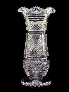 Large Cut Glass Crystal Scalloped Sawtooth Rim Vase   eBay