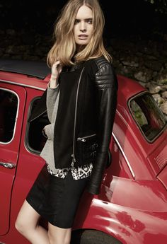 Oui Book of Friendship Leather Skirt, Leather Jacket, Winter 2014 2015, Skirts, Jackets, Clothes, Friendship, Book, Fashion