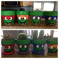 Paint Flower Pots to Look Like Teenage Mutant Ninja Turtles - http://diyforlife.com/paint-flower-pots-look-like-teenage-mutant-ninja-turtles/ - #FlowerPots, #TeenageMutantNinjaTurtles
