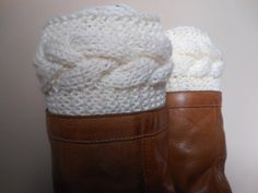 Hand Knitted Boot Cuffs Leg Warmers by MyKnitCroch on Etsy