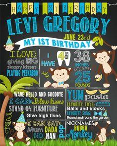 Monkey zoo First any age Birthday chalkboard chalk board milestone boy girl 32 Monkey Birthday Parties, Baby Boy First Birthday, First Birthday Cakes, Birthday Board, 1st Boy Birthday, Birthday Ideas, Lincoln Birthday, Birthday Chalkboard, Birthday Pictures