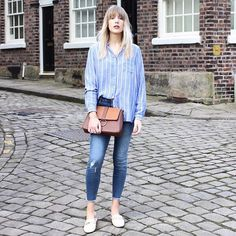 """The final blogger to style our stripe shirt is Manchester-based @lurchhoundloves - Do you share her love for cute cobbled streets and skinny jeans?#DiscoverMatalan #InstaTakeover """"I love Macclesfield's quaint cobbled streets and buildings. My top tip would be to visit The Treacle Market; one of the largest artisan markets in the North West."""" Stripe Shirt s2643532   April Ankle Grazer Jeans s2640251   Across Body Bag s2634599"""