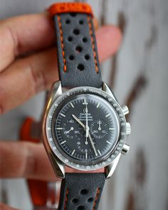 """668 Likes, 32 Comments - Combat Straps (@combat_straps) on Instagram: """"Omega Speedmaster Moonwatch with Rally Grey Alcantara and orange stitching with Matching stitching…"""""""