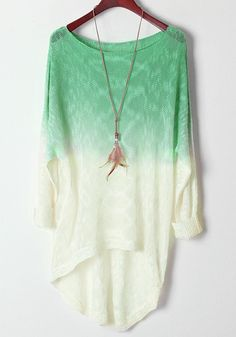 Light Green Gradient Batwing Long Sleeve Wool Sweater