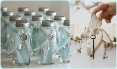 Recycled Glass Jars & Paper from thrift shop for Message in a Bottle invites. Going Green!