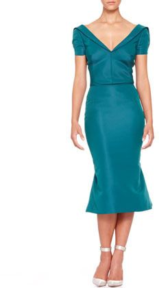 $2,290, Zac Posen Short Sleeve Silk Duchesse Dress Teal. Sold by Neiman Marcus. Click for more info: https://lookastic.com/women/shop_items/47083/redirect