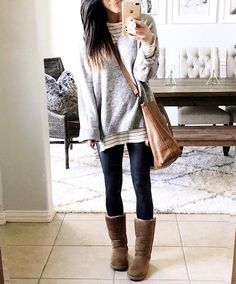 Casual dress winter, cute winter outfits, cute outfits for kids, casual outfits, Outfits Leggins, Leggings Outfit Winter, Leather Leggings Outfit, Spanx Faux Leather Leggings, Leggings Fashion, Tribal Leggings, Ugg Boots Outfit, Cute Outfits With Leggings, Sweaters And Leggings