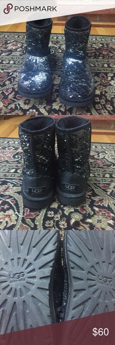Sparkle UGG Classic short boots Big kid size 5 Authentic sparkle UGGs used but in great condition. No scuffs and all sparkles are intact. Big girls size 5 but also fits women size 7. UGG Shoes Ankle Boots & Booties