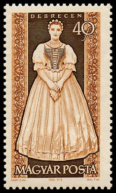 Stamp printed by Hungary, shows provincial costumes of Debrecen, circa 1963