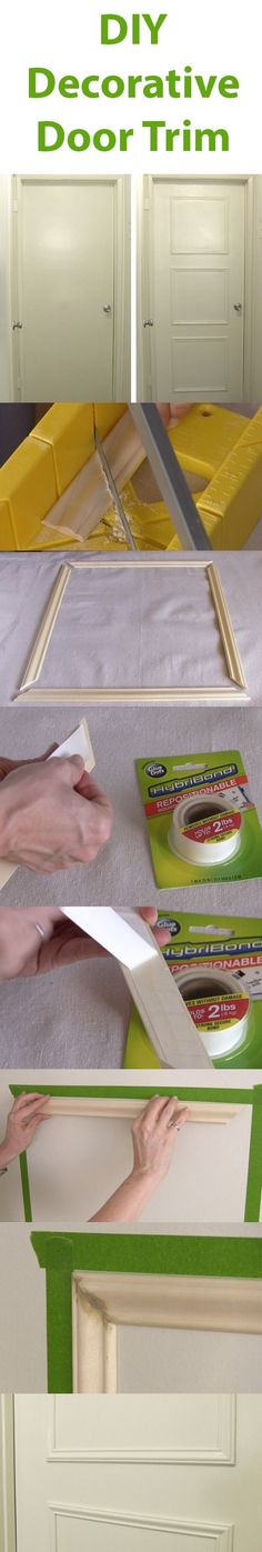 Boring, flat, hollow doors can be an eyesore in your home. Learn how to upgrade them yourself by adding a decorative trim using new HybriBond Mounting Tape, Powered by GlueDots - Diy Interior Design Home Renovation, Home Remodeling, Door Makeover, Decorative Trim, Home Upgrades, Home Repairs, Diy Home Improvement, Home Projects, Diy Home Decor