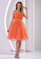 Orange Red Spagetti Straps Sweet Cocktail Dress With Beding and Ruch - US$126.89  http://www.dresses100.com/  cheap grad dress for college | 8th grade grad dress for juniors | 2013 sexy custom made prom dama dresses for sale | cute grad dress stores |