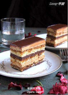 Opera Cake - Gloriously Rich: Almond Sponge Cake (Joconde), Espresso Butter-Cream, Ganache and a decadent Chocolate Glaze. French Desserts, Just Desserts, Delicious Desserts, Yummy Food, Sweet Recipes, Cake Recipes, Dessert Recipes, Opera Cake, Cupcakes