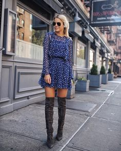 Grey thigh high boots outfit with blue dress. Image ©️️StyledSnapshots Grey thigh high boots outfit with blue dress. Thigh High Boots Outfit, Over The Knee Boot Outfit, Dress With Boots, Knee Boots, Short Boots Outfit, Casual Winter Outfits, Trendy Outfits, Fall Outfits, Outfit Winter