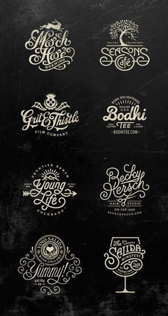 vintage - Typography Logos by Jared Jacob of Sunday Lounge CoDesign Magazine Dailyupdated Magazine celebrating creative talent from around the world Types Of Lettering, Lettering Design, Branding Design, Lettering Guide, Brush Lettering, Design Graphique, Art Graphique, Beste Logos, Inspiration Typographie
