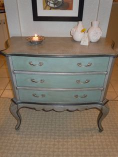 These colors look great together. Annie Sloan chalk paint - duck egg blue and Paris Grey.