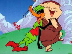 Porky Pig as Friar and Daffy Duck as Robin Hood. Good Cartoons, Vintage Cartoons, Best Cartoons Ever, Old School Cartoons, Looney Tunes Cartoons, Classic Cartoons, Animated Cartoons, 1970s Cartoons, Funny School