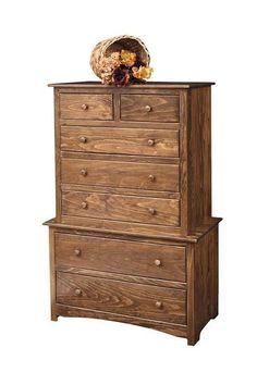 Amish Pine Wood Shaker 7 Drawer Chest Solid pine wood. Amish made in Pennsylvania. Lots of finish options including stain, paint or distressing. #DutchCrafters