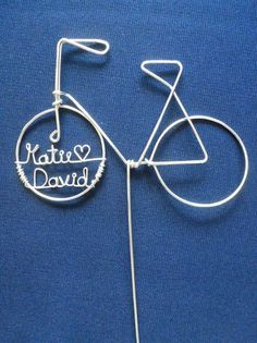 LOVE BIKE Simple Personalized Bike Wedding Cake by HeatherBoydWire. Perfect for us