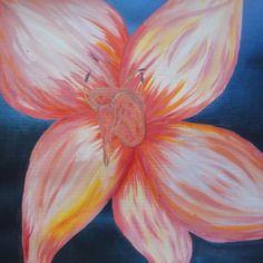 Peinture acrylique sur papier : petite elfy en fleur