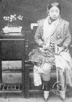 Chinese woman with bound feet. Qing dynasty