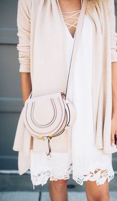 Cute sundress, drapey cardigan, crossbody saddlebag...bonus points for monochromatic layers
