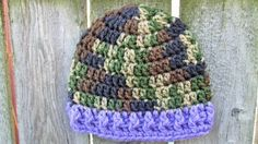 Baby Girl Camo Hat, Crochet Newborn Hat, Baby Girl Military, Baby Photo Prop, Camo and Purple,  Country Camo, Army Beanie, Baby Skull Cap by TheFlyButterFactory on Etsy