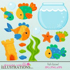 Fish Bowl clipart set comes with 13 cute graphics including: 5 amazing colorful fish, a fish bowl tank, a bubble, 3 color pebbles or rocks, seaweed, a fish tank castle tower and a starfish!