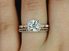 Christie Sweetheart & Kierra 14kt Rose Gold FB Moissanite Diamond Halo WITH Milgrain Wedding Set (Other metals and stone options available)