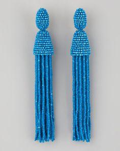 Oscar de la Renta Long Beaded Tassel Earrings Blue