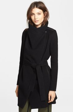 $417, Vince Leather Trim Asymmetric Car Coat. Sold by Nordstrom. Click for more info: https://lookastic.com/women/shop_items/108664/redirect