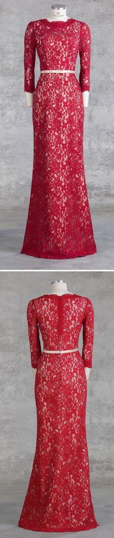 """Isabel de Mestre Abendmode 2017 - Evenings Abendkleider Kollektion 2017: Langes Abendkleid """"Italia"""" in Rot mit viel Spitze und hochgeschlossen. Schön als Kleid für die Brautmutter oder als Standesamtkleid."""