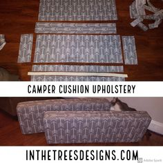 Details on how I upholstered our camper dinette back and seat with outdoor canva. - Details on how I upholstered our camper dinette back and seat with outdoor canvas and vinyl. Popup Camper Remodel, Travel Trailer Remodel, Camper Renovation, Travel Trailers, Camping Trailers, Tent Trailers, Rv Camping, Trailer Diy, Glamping