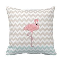Flamingo Chevron Accent Pillow