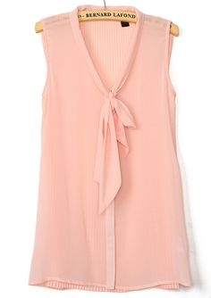 Pink Sleeveless Bow Pleated Chiffon Blouse