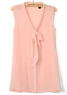 Pink Sleeveless Bow Pleated Chiffon Blouse