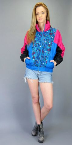 Vintage 80s 90s Windbreaker Bomber Bright Pinnk Blue Black Abstract Print Colorblock Zip Up Track Jacket Fresh Prince of Bel Air Hipster Retro Street Style Urban Hip Hop by BlueFridayVintage on Etsy