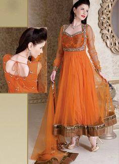 Modish Orange Net Readymade Designer Anarkali Suit