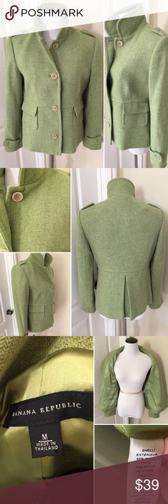 Banana Republic Kiwi Wool Blazer, M EUC ! So cute and can be styled for business or with ripped jeans and a jean shirt! Banana Republic Jackets & Coats Blazers