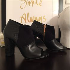 Trina Turk Los Gatos open toed booties in black Update your shoe collection with this crocodile, suede, and leather peep toe bootie. The textural mix of materials is an on trend addition to the classic peep toe bootie style. Finished with a solid, chunky heel to provide balance and help make your signature strut that much easier to achieve. Heel height 4 inches  smoke free home  SOLD OUT STYLE IN ALL COLORS!!  I'm also on ♏️ercari for less  I own this shoe in 2 colors, it's my absolute…