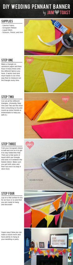 Easy DIY No-Sew Wedding Pennant Banner