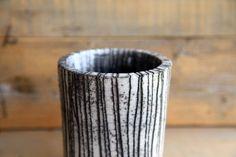 minimalist raku pottery vase black