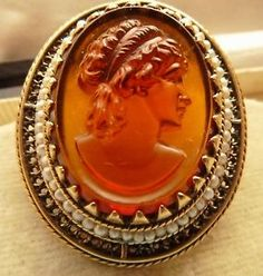 ANTIQUE VICTORIAN AMBER GLASS TASSIE CAMEO BROOCH SOLID GOLD & SEED PEARL FRAME