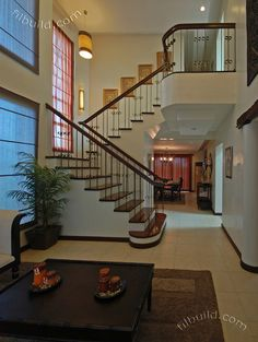 11 Pretty House Stairs Design In Philippines Photos - Stairs Architecture Bungalow House Design, Duplex House, Small House Design, Modern House Design, Modern Zen House, Modern House Plans, Small House Plans, House Construction Plan, Home Stairs Design
